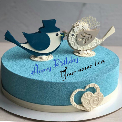 Love Birds Blue Color Birthday Cake With Name On It