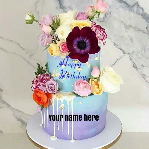 Double Layer Flower Birthday Wishes Cake With Name