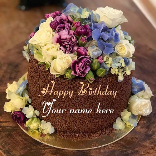 Chocolate Flower Happy Birthday Cake With Name