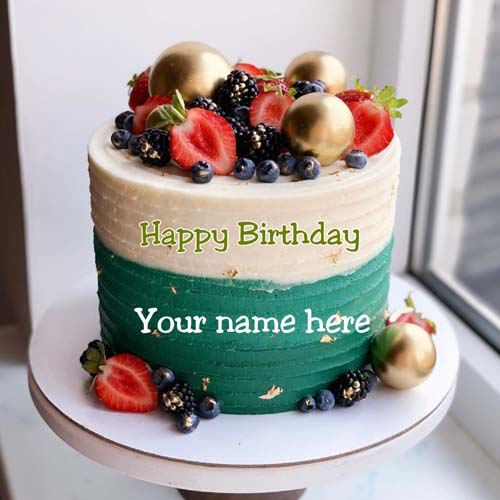 Fruit Birthday Cake With Name On It For Husband