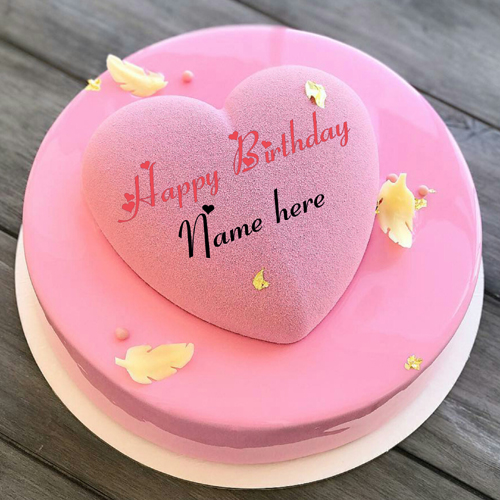 Write Name On Heart Birthday Cake For Dear Wife