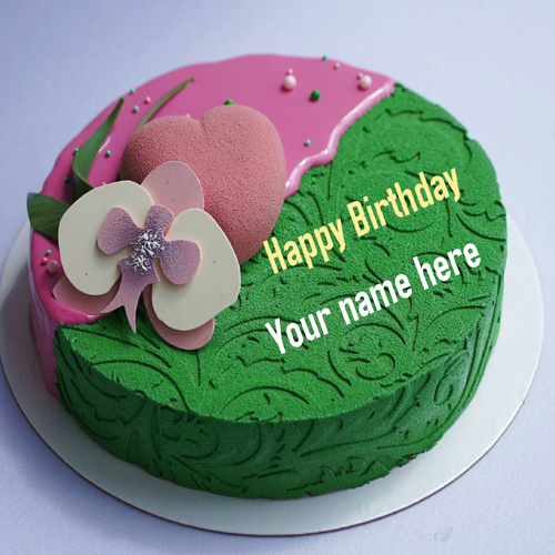 Designer Heart Birthday Cake With Name For Wife