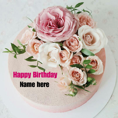 Rose Flower Happy Birthday Cake With Name On It