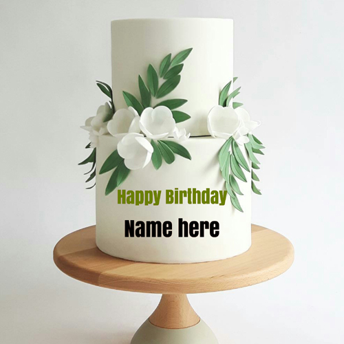 Double Layer Flower Decorated Vanilla Cake With Name