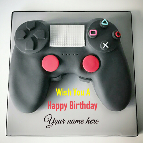 Joystick Happy Birthday Wishes Cake With Name On It