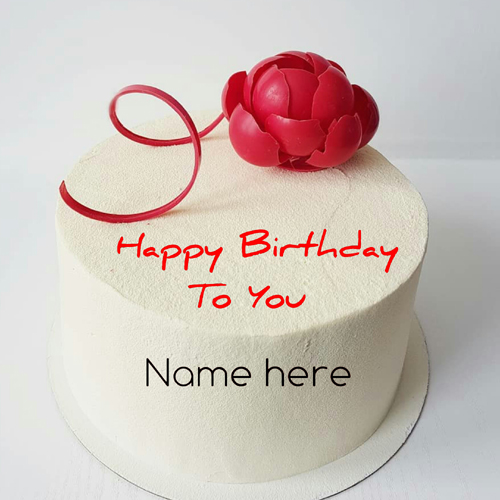 Vanilla Flavor Birthday Cake With Red Rose For Love