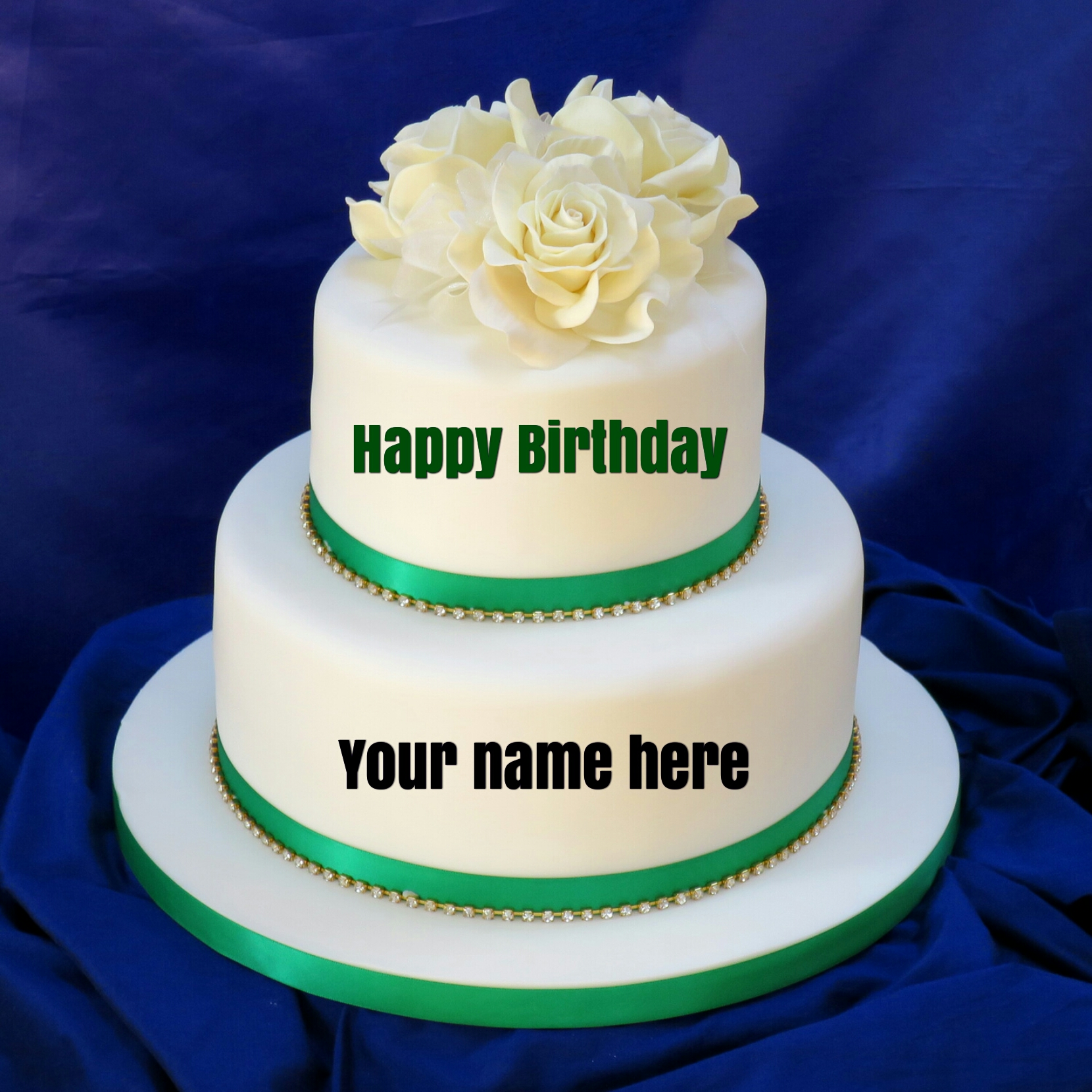 Double Layer Vanilla Birthday Cake With Name For Sister