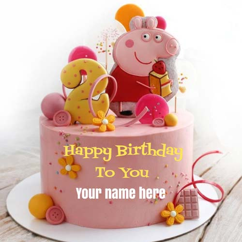 Happy 2nd Birthday Name Cake With Peppa Pig Catoon