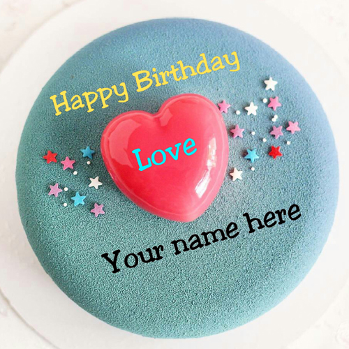 Write Name On Birthday Cake With Heart For Dear Husband