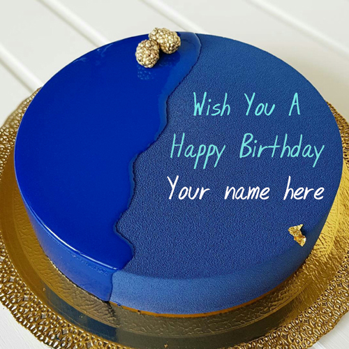 Royal Blue Velvet Birthday Cake With Name For Wife