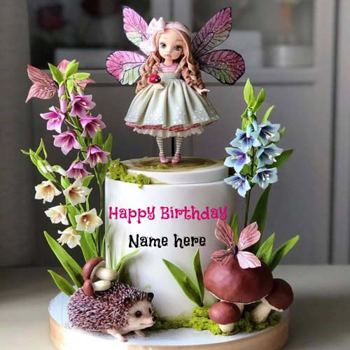 Happy Birthday Name Cake With Fairy For Kid