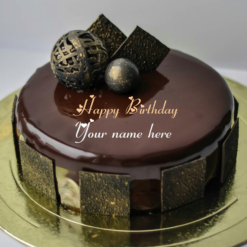 Mirror Glazed Chocolate Birthday Cake With Name On It