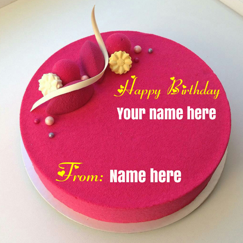 Strawberry Flavor Velvet Birthday Cake With Name On It