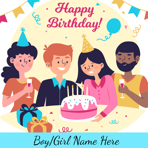 Family Picture Birthday Greetings Name Card