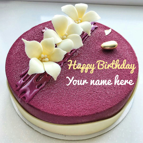Magenta Color Birthday Cake With Name For Sister