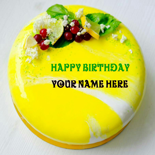 Lemon Cherry Birthday Cake With Name For Friend
