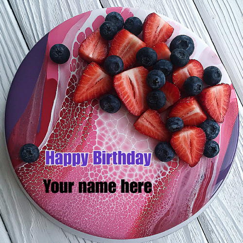 Strawberry Blueberry Fruit Birthday Cake With Name
