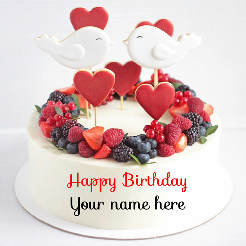 Vanilla Flavor Fruit Birthday Cake For Love With Name