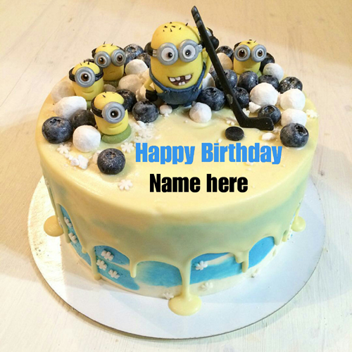 Minion Birthday Cake With Kid Name On It
