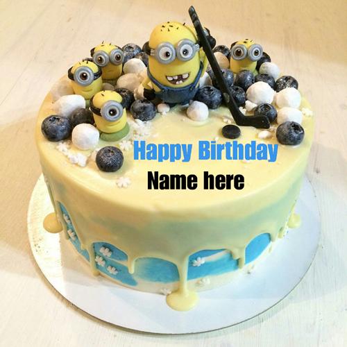 Minion Birthday Cake With Kid Name On It