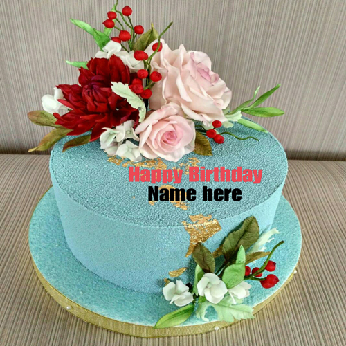 Multicolored Flower Birthday Cake With Name On It