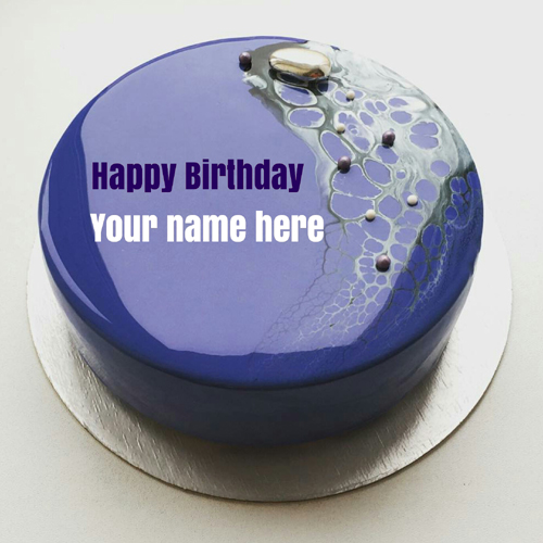 Metallic Blue Marble Birthday Cake With Brother Name