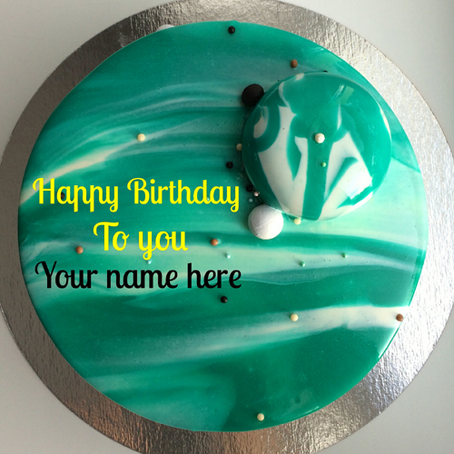 Mirror Glazed Floral Art Birthday Cake With Name