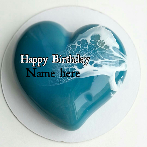 Blue Color Heart Shaped Birthday Cake With Name On It