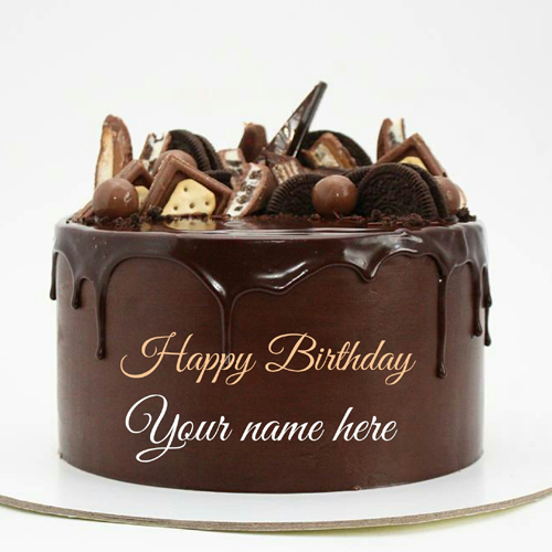 Write Name On Chocolate Birthday Wishes Cake With Oreo