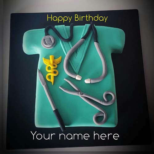Happy Birthday Cake For Surgeon With Name On It
