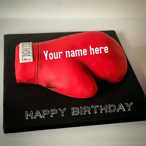 Boxing Glove Special Birthday Name Cake For Boxer