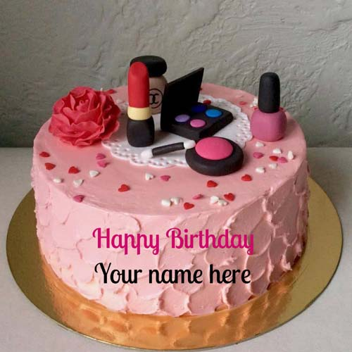 Makeup Kit Birthday Wishes Cake With Name For Wife