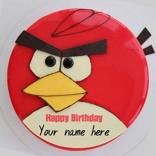 Angry Bird Cartoon Birthday Cake With Name For Kid