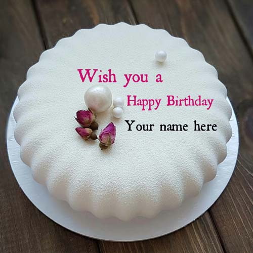 Write Name On Vanilla Flavor Birthday Cake For Papa