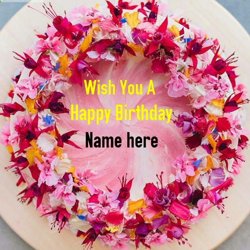 Multicolor Designer Flower Birthday Cake With Name