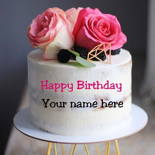 Rose Flower Decorated Vanilla Flavor Birthday Name Cake