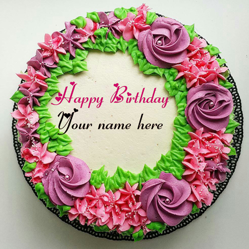 Flower Cream Birthday Cake With Name On It