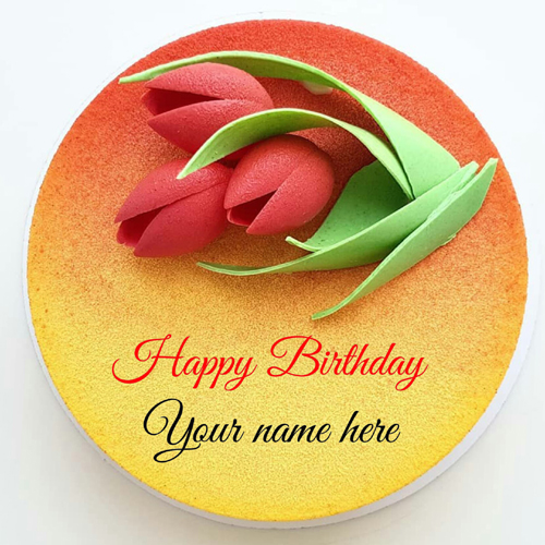 Flower Decorated Beautiful Birthday Cake With Name