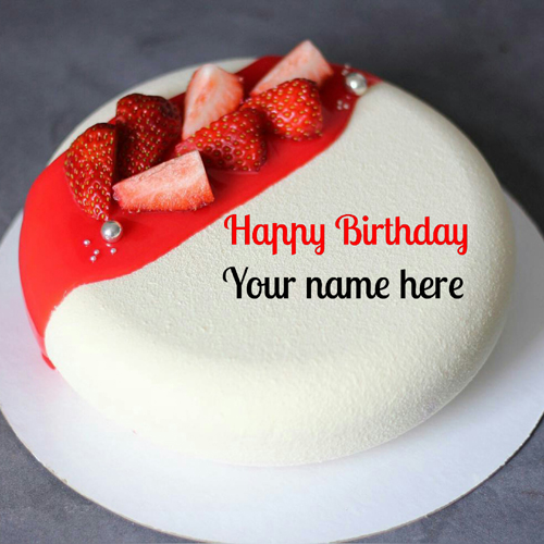 Write Name On Vanilla Strawberry Birthday Cake