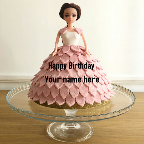 Barbie Doll Birthday Cake For Girl With Name On It