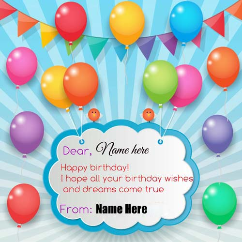 Write Name On Greeting Card With Colorful Balloon