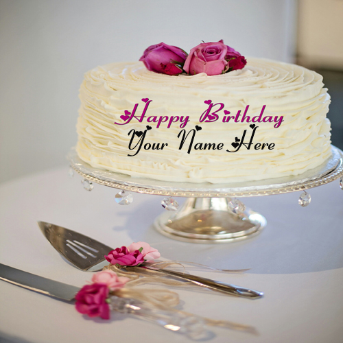 Write Name On Romantic Birthday Cake For Wife