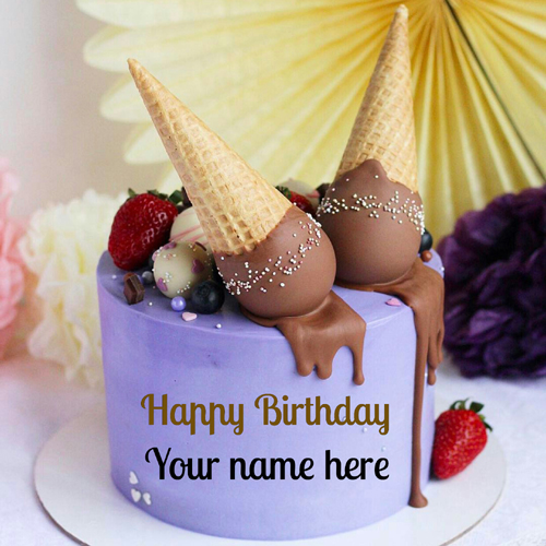 Blackcurrant Flavor Birthday Cake With Name For Friend