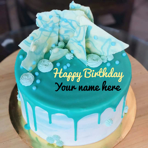 Write Brother Name On Blue Aqua Theme Birthday Cake