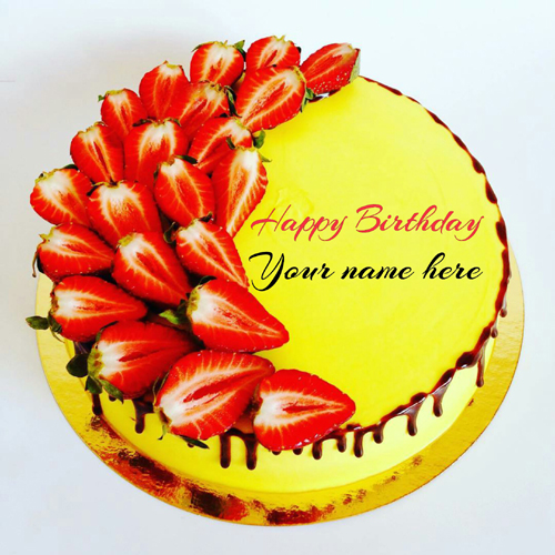 Get Name On Mango Birthday Cake With Strawberry Topping