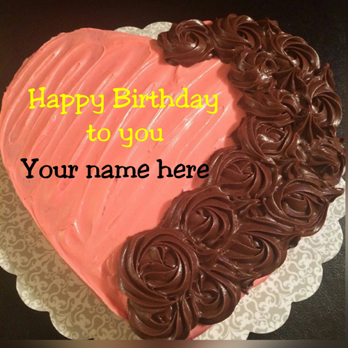 Heart Shaped Chocolate Cream Birthday Cake With Name On