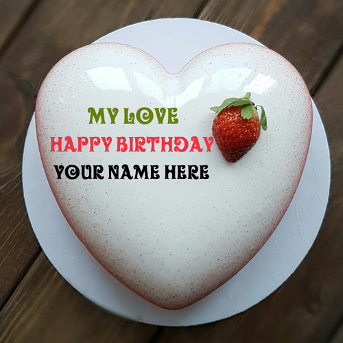Write Name On Vanilla Flavor Heart Birthday Cake