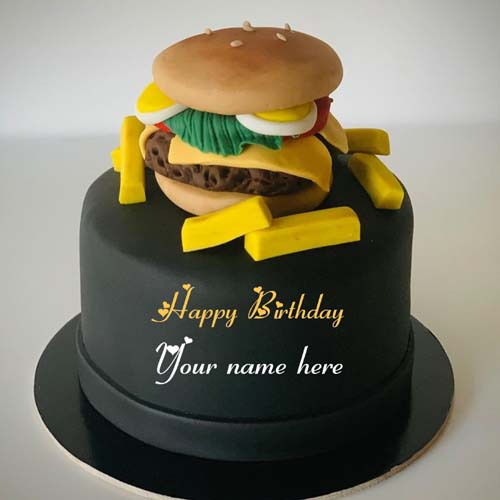 Burger Birthday Cake With Name For Foodie