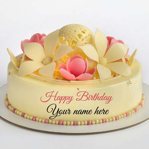 Vanilla Strawberry Cream Flower Cake With Mother Name