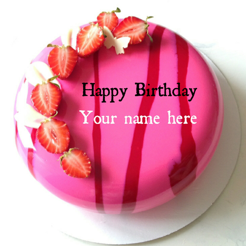 Strawberry Birthday Cake With Name For Dear Mother